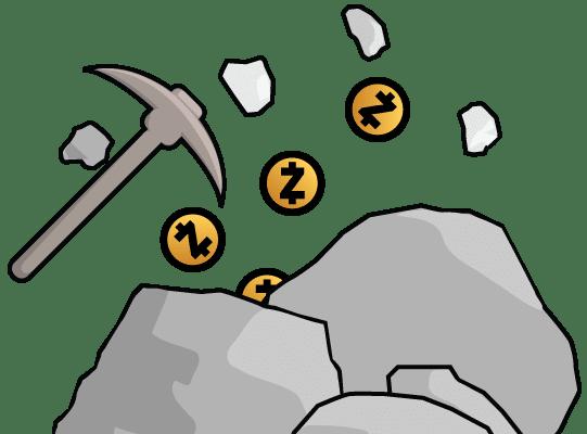 Cartoon of pickaxe mining ZEC