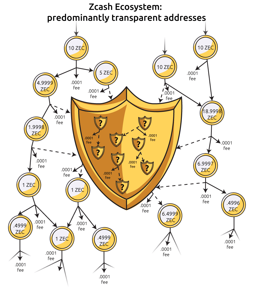 A depiction of a transaction graph with a smaller number of shielded addresses