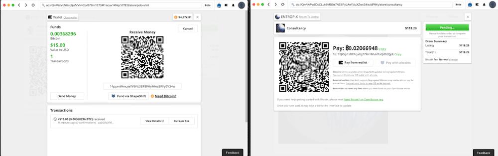 Screenshots of OpenBazaar 2.0 Search UI