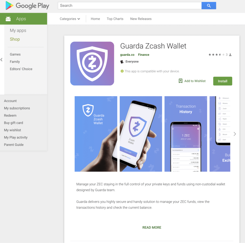 Guarda Zcash Wallet on Google Play