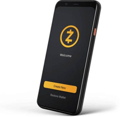 Smartphone displaying ZEC wallet on the screen